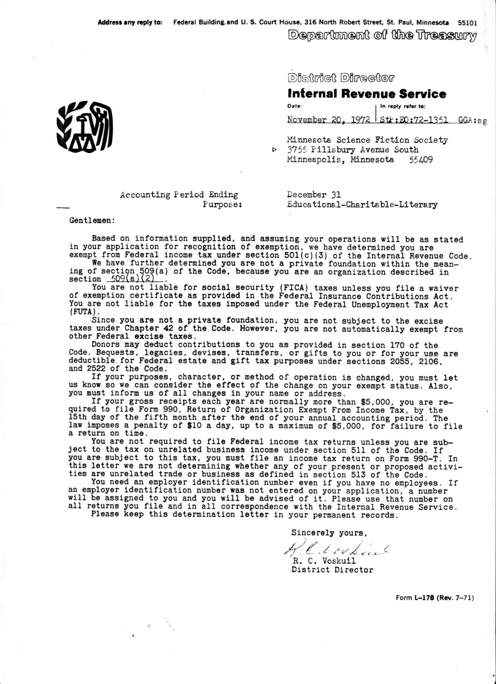 a pdf of a scan of a photocopy of our original irs determination letter